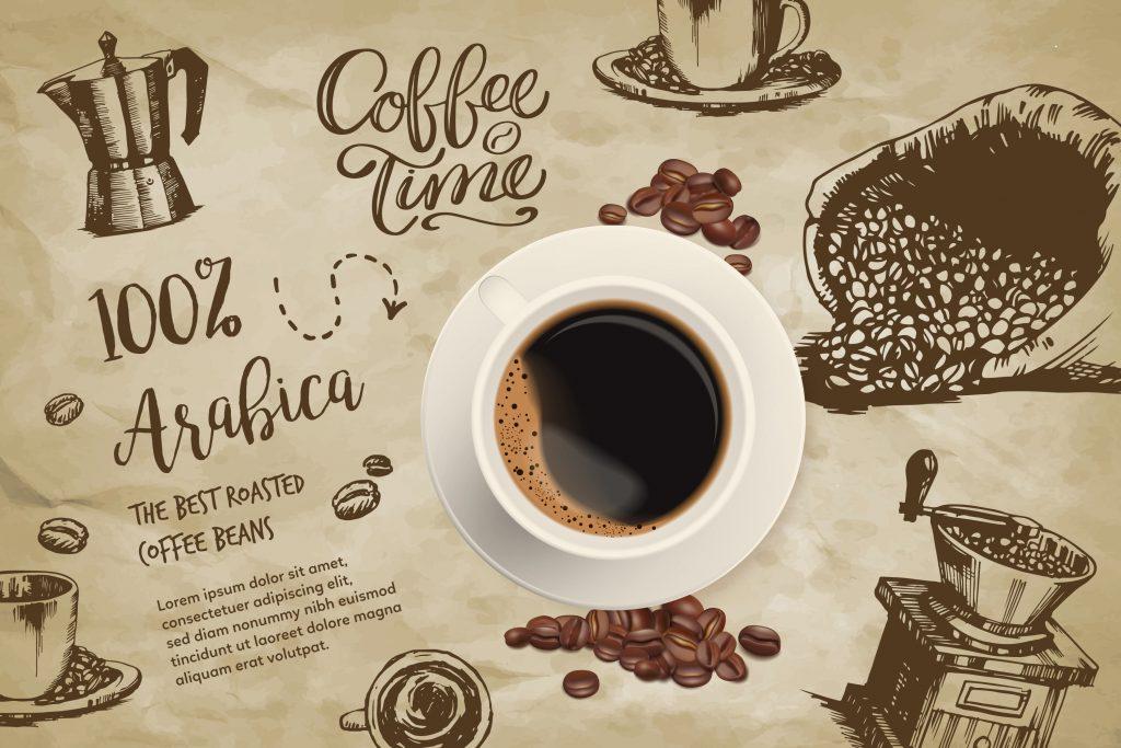 Taza de café sobre mantel con motivos de café