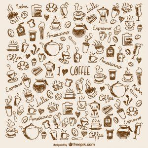 fondo garabatos granos de café