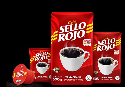 paquetes de café sello rojo