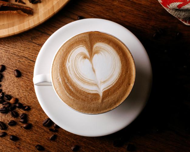 vista superior taza de café